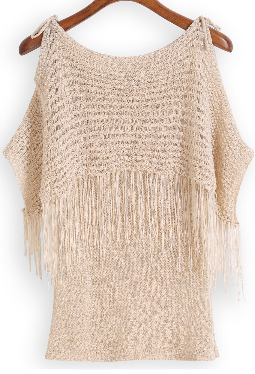 Apricot Off the Shoulder Tassel Knit Sweater -SheIn(Sheinside)