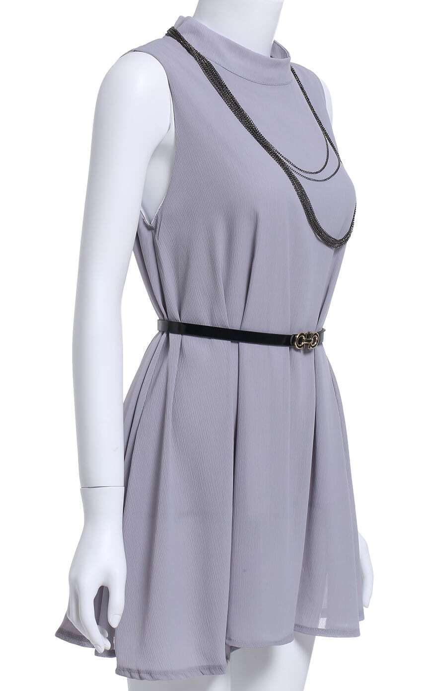 grey stand collar chain embellished dress with belt shein