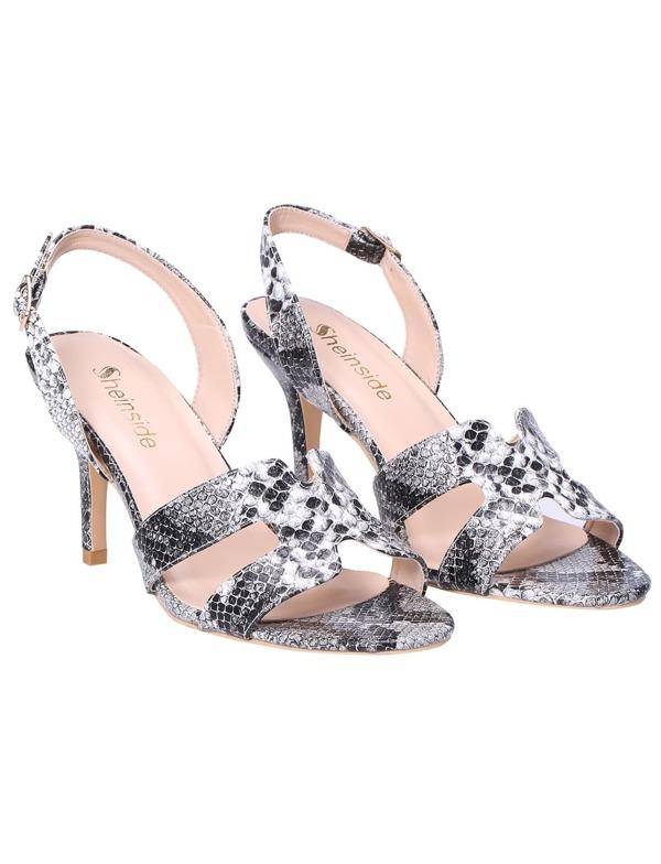528a9000849 Black Snakeskin Cutout High Heeled Sandals