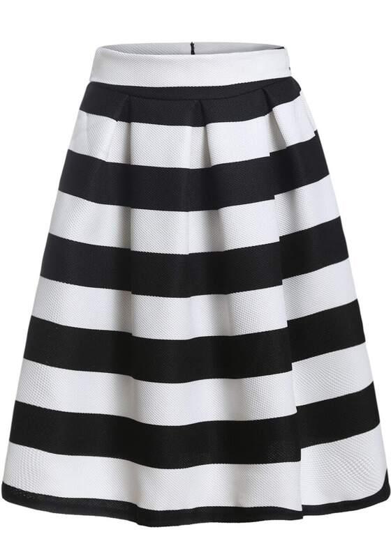 c00b40491 Black White Striped Flare Skirt   SHEIN