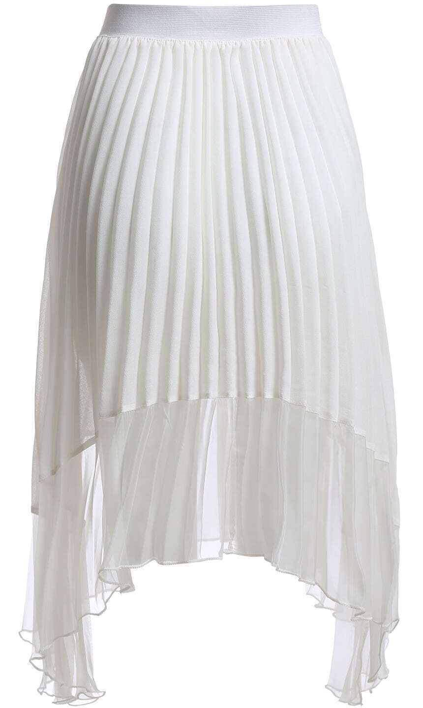 white pleated asymmetrical chiffon skirt shein sheinside