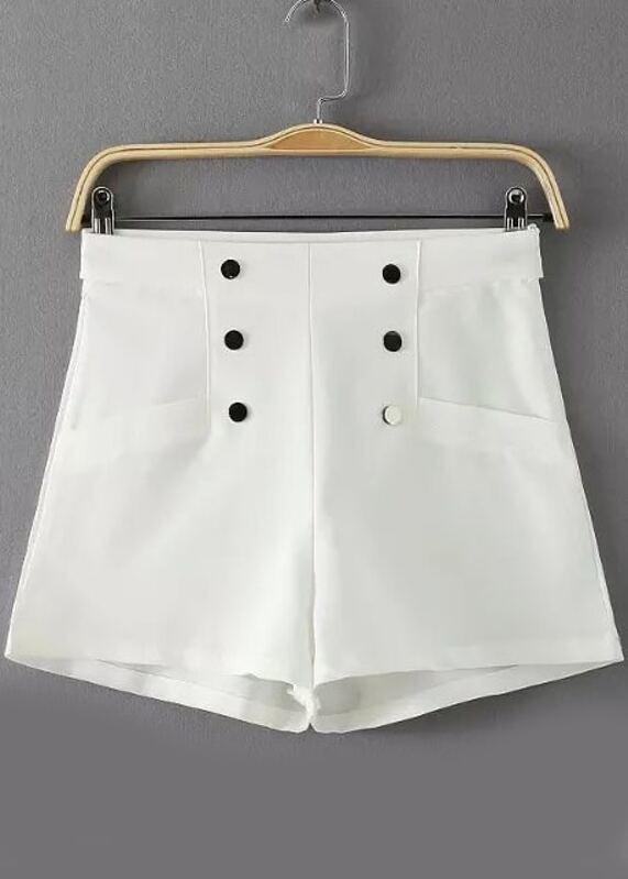 mejor servicio 15bf2 33311 Shorts cintura alta botones -blanco