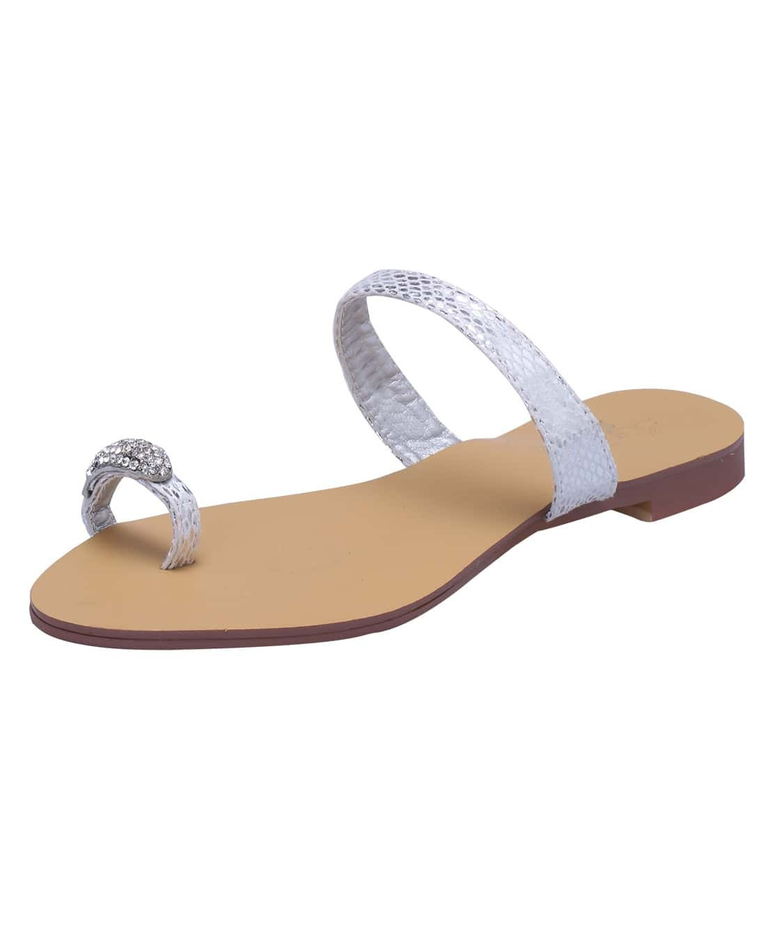 White With Rhinestone Flat Sandals -SheIn(Sheinside)