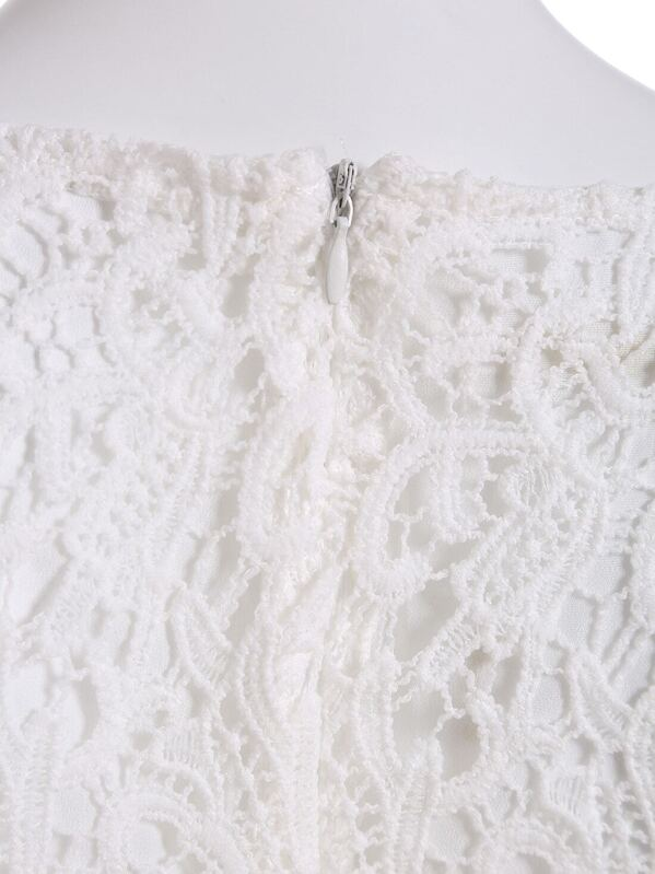 Vestido cuello tapa flores crochet encaje -blanco-Spanish SheIn ...