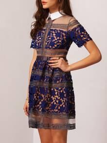 bc4dc5a0f Vestido encaje combinado gasa solapa-azul