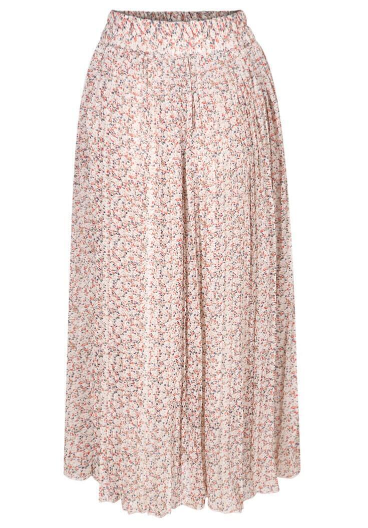 floral midi pleated pink skirt shein sheinside
