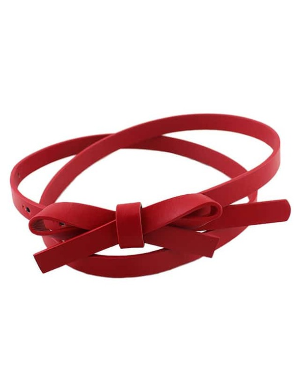 Para estrenar d5891 cac59 Cinturón fino de moda PU para mujer -rojo