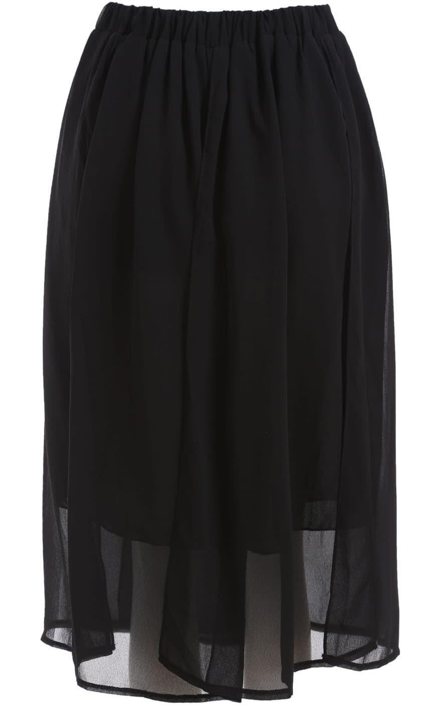 black elastic waist pleated chiffon skirt shein sheinside