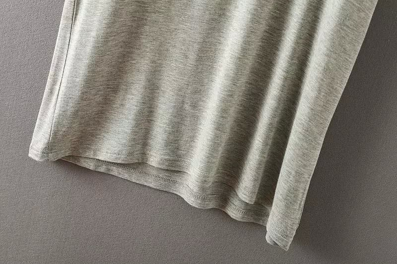 V Neck Loose Pale Grey T-shirt