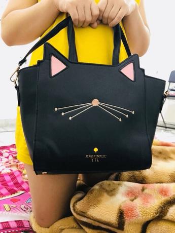 29fa9f0442 Cat Ear Embroidery Detail PU Shoulder Bag | SHEIN UK