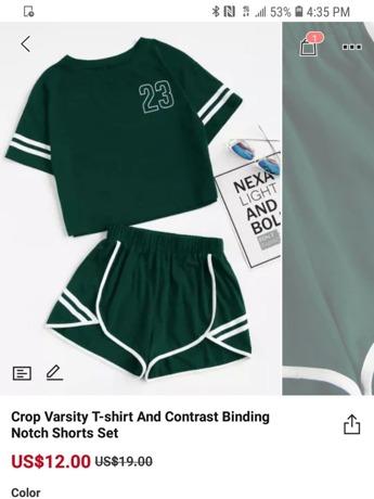 49469f528f Crop Varsity T-shirt And Contrast Binding Notch Shorts Set | SHEIN