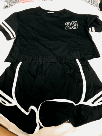 a57a37ad0c Crop Varsity T-shirt And Contrast Binding Notch Shorts Set | SHEIN UK