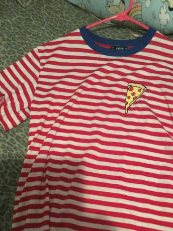 a1948b3c8ec8 Contrast Neck Pizza Print Striped T-shirt | SHEIN