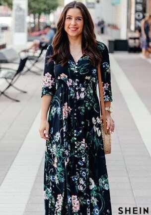 Calico Print Plunge Neck Button Front Maxi Dress. SKU  dress160820551 280  review(s). AU 44.95 (Sale) AU 55.95. Buy Now. add your photo f5aec1906