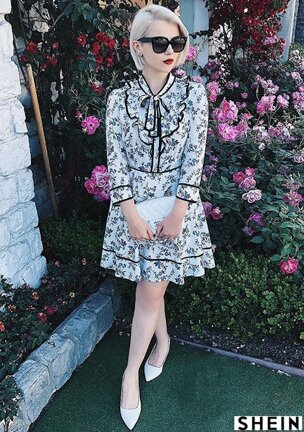 4c09e2f5d7 Flower Print Long Sleeve Peasant Dress with Ruffle Collar and Black Trim  NAVY WHITE Style Gallery