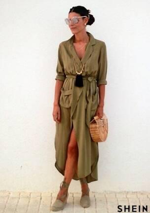 b1b60b1ed1 Tie Waist Split Maxi Dress With Pockets Style Gallery